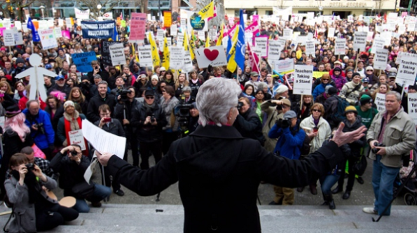 British Columbia Teacher's Federation president Susan Lambert addresses striking teachers and other supporters during a rally on the final day of a three-day province wide walkout in Vancouver, B.C. Click image for CTV News Coverage.