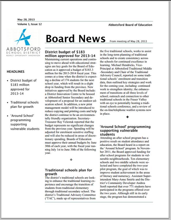 Board News May 2013
